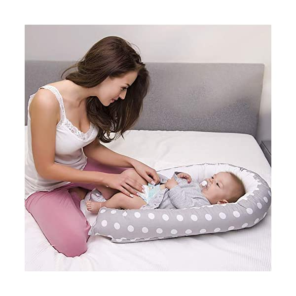 NIUXUAN Newborn Baby Nest Baby Lounger, Portable Soft Breathable Baby Bed, Removable Cover Baby Bionic Bed for Infants Toddlers - 100% Cotton Crib Mattress for Bedroom Travel (Style 12) NIUXUAN 【Soft And Safe Material】Baby Lounger is made of 100% Cotton, and the anti-allergic filling is skin-friendly and breathable, safe in contact with delicate baby skin.The baby will feel warm and comfortable. 【Creative Design】The baby lounger simulates the bionic concept to mimic the mother's warm womb, the baby co sleeping give the baby a full sense of security. Unique recessed interior designed to cradle the baby in bottom, takes away the worry of rolling onto baby in the night and to allow your baby to have deep and nice sleep.It creates a safe space for baby to sleep in bed with parents. 【Dimension】 (L x W) 80cm x 50cm / 31.5in x 19.69in. Total Weight: 0.9kg. Suitable for 0-18 months babies 2