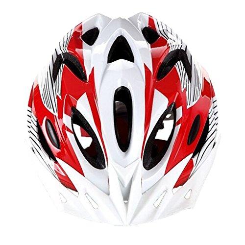 SYAODU Fahrradhelm mit abnehmbarem Visier, Super Light Integral Fahrradhelm Erwachsene, verstellbare leichte Mountain Road Bike Helme, Kopfumfang (56-63cm) Medium (Farbe : Red and white)