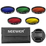 Neewer® 52mm Farbfilter Set für NIKON D7100 D7000 D5200 D5100 D5000 D3300 D3200 D3000 D90 D80 DSLR Kameras, Set beinhaltet: 5x 52mm Farbfilter(blau / gleb / orange / rot / grün) + 1x 52mm Zentrale Pinch Objektivdeckel mit Hut-Clip-Gurt + 1x Filter Tragetasche