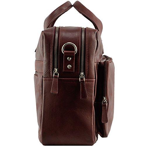 Echt Leder Messenger bag Business Tasche Aktentasche Herrentasche Schultertasche Umhängetasche DIN-A4 Braun Laptoptasche Notebooktasche Cognac Rotbraun