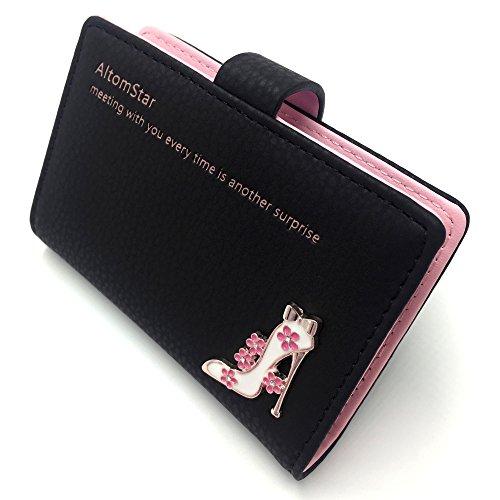 Porta carte di credito pelle per donna - 20 slot (nero)
