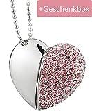 Austrian7 USB-Stick 32 GB Halskette mit Herz Anhänger und Magnetverschluss in edler Geschenkbox, USB 2.0, Ideal als Geschenk zum Valentinstag oder für Hochzeitsfotos, Kette inklusive, Rosa herzform