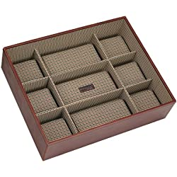 STACKERS Men's Casual Brown 15pc Watch Box Stacker with Check Lining