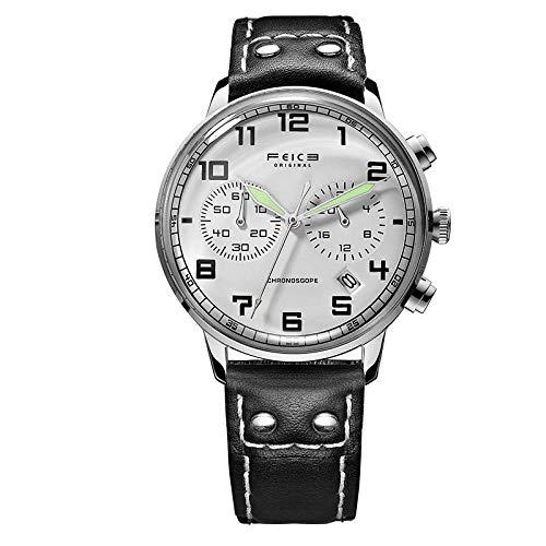 Uhren echt Uhr echt Uhr Geschäft Multi Funktion Männer Quarz Uhr @ Silber Muschel Weiß Schwarz Gürtel Stift Schnalle -