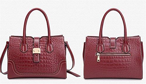 XinMaoYuan cuoio composito donne borsetta Crocodile Pattern telaio orizzontale Square Platinum Zipper Bag,blu Vino rosso