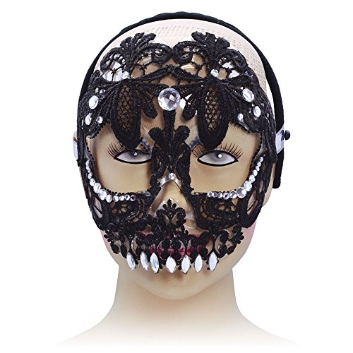 Bristol Novelty Sugar Skull Eye Maske auf, Kopfband, PET, Polyester, Acryl Stein, schwarz, one Size