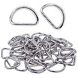 BronaGrand D-Ringe 50 Stück Metall D Ringe 25 mm Halbrundringe Vernickelt Loop Ring für Gürtelschnallen Taschen Gürtel (silbern)