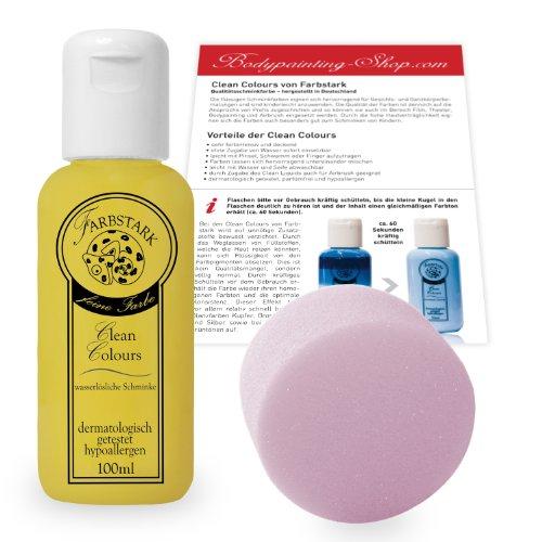 Farbstark Bodypainting Farben - hautfreundliche Körperfarbe in Profi Qualität (auch für Airbrush geeignet), Set: 100 ml Farbe Gelb + Schminkschwamm