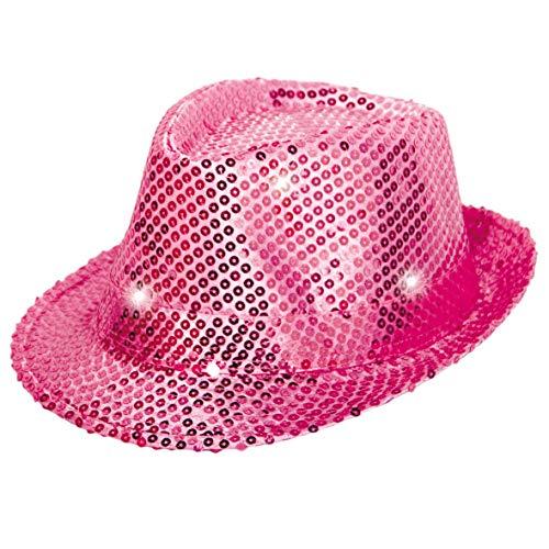 Folat 24073 Tribly Party Hut mit Pailletten und LED Beleuchtung, Unisex-Erwachsene, Magenta, Einheitsgröße