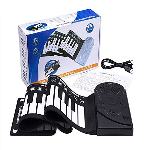 Angela pianoforte a rullo portatile, tastiera flessibile in silicone, 49 tasti, ricarica usb, adatto per bambini, principianti, può essere utilizzato a casa per la pratica (nero)