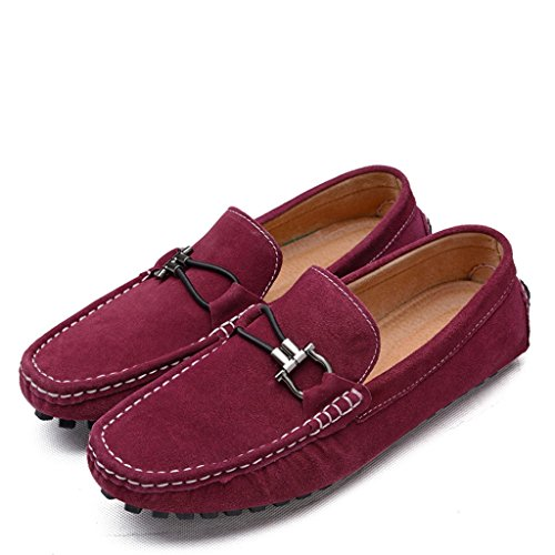 Minitoo Mens Round Toe Rindsleder zum Casual Slipper Rot