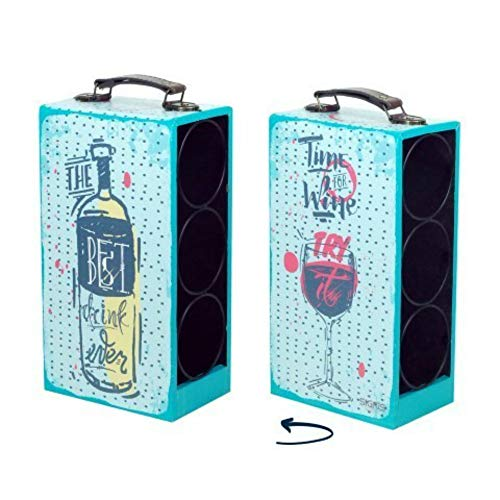 CAPRILO Botellero Decorativo para Botellas de Vino Botella y Vaso. Muebles Auxiliares. Menaje de Cocina. Regalos Originales. 33 x 18 x 11 cm.