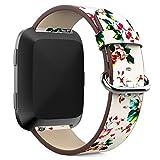 TOPsic Fitbit Versa Correa, correa de repuesto de cuero genuino con hebilla de acero inoxidable de plata Accesorios pulseras serie de estampado de flores correa para Fitbit Versa SmartWatch