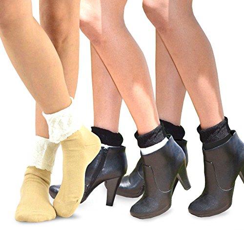TeeHee Frauen Fashion Knöchelsocken, 3 Paare Combo (Lace Turn Cuff) -