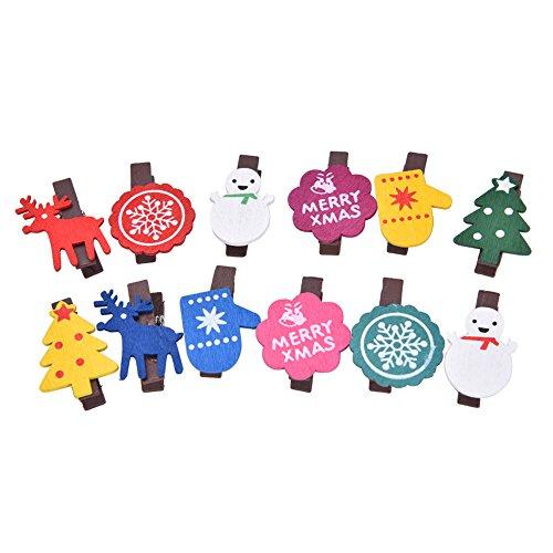 Kanggest 12pcs Mini Pinzas Madera Pequeñas Para Fotos Clips de Madera Decorativas navidad Papel DIY Mini Fotos de Madera para decoración de Navidad