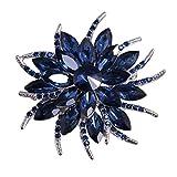 Merdia Broche Fleur Broche Pour Femmes Mariées Broche Cristal Créée Bleu