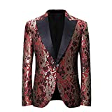 YOUTHUP Herren Smoking Anzüge Dinner Jacket für Party Bühnenperformance Abschlussball Rot L