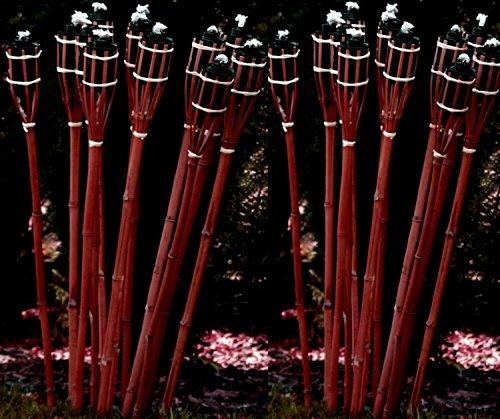 24 Stück rotbraune Gartenfackel 120 cm aus Bambus / Bambusfackel mit Docht Gartenbeleuchtung Dekoration Fackel STAR-LINE®