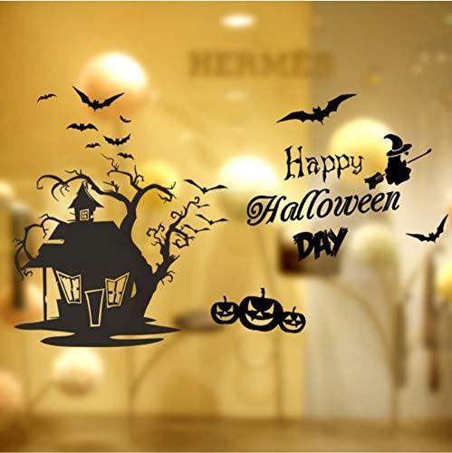 Schädel Pumhpkin Baum Haus Wandaufkleber Happy Halloween Tag Fliegen Hexe Home Fenster Dekoration Festival Wandtattoos ()