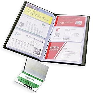Business Name Card Buch Halter mit Edelstahl Pocket Cardcase, Senhai PU Leder Kredit ID Card Collector Storage, Tagebuch Organizer für Büro, 40Seiten, 240Karten–Schwarz