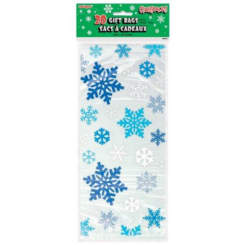 20 Bolsas celofán - Diseño copos nieve azules