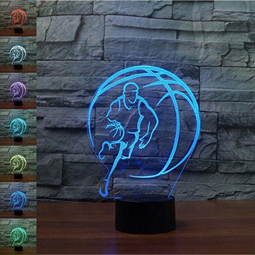 Nachtlicht 3D neben Tischlampe Illusion, Jawell 7 Farben ändern Touch Switch Schreibtisch Dekoration Lampen Geburtstag Weihnachtsgeschenk mit Acryl Flat & ABS Base & USB Kabel (Licht Basketball)