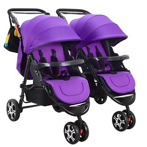 ZLMI Twin Baby Carriage Pieghevole e smontabile Twin Twin Passeggino può sedersi/mentire Adatto a 0-3 Anni di Auto BB,C