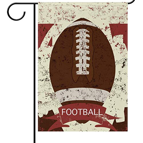 fdgjfghjdfj Fall and Football Garden Flag 12 x 18, Retro Grunge American Football Funny Sports Soccer Ball Double-Side House Yard Outdoor Flags Banner for Football Party Favor -