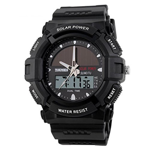 personalized solar watch/fashion electronic dual display/waterproof/outdoor sports watch/student watch, black