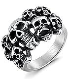 Sailimue Edelstahl Ringe für Herren Damen Totenkopf Schädel Ringe Teufel Größe62(19.7)