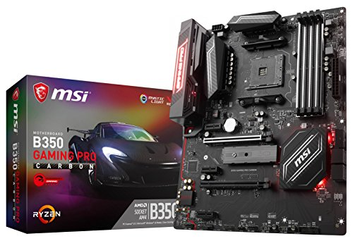 Price comparison product image MSI AMD AM4 B350 Gaming Pro Carbon Ryzen 7th Gen DDR4 M.2 USB3.1 CF/SLI ATX Motherboard - Black