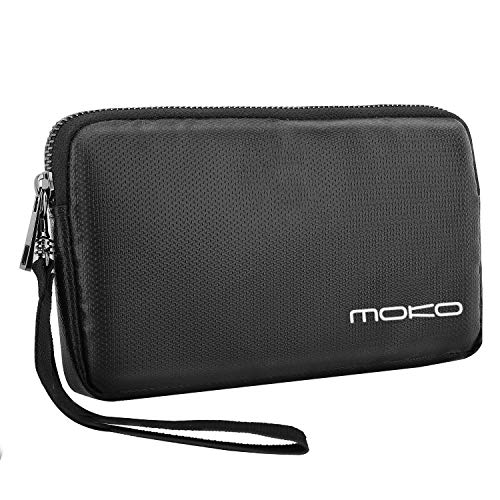 MoKo Power Bank Carrying Bag, Zipper Fire Resistant Electronic Accessories Storage Case, Portable Fireproof Hard Drive Pouch USB Cable Travel Gear - Black -