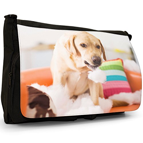 Fancy A Bag Borsa Messenger nero Golden Retriever With Butterfly on his Nose Golden Retriever Playing With Pillows