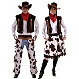 Couples Hommes et femmes COW-BOY & Cowgirl Woody & JESSIE FAR WEST Déguisement Western Costume déguisement - Marron, Ladies UK 10-14 & Mens STD