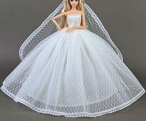 Stillshine BU-02 Schöne und modische handgefertigte Elegante schöne Hochzeit Abend-Partei-Kleid für Barbie Puppe(Puppen Nicht im Lieferumfang enthalten) (weiß 3)