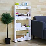 Kurtzy 4 Layer Space Saving Storage Organizer Rack Shelf With Wheels For Kitchen Bathroom Bedroom 54x12x100CM