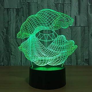 Klsoo Shell Diamond 3D Night Light Gradient Colorful Touch Led Light USB Charging Home Bedside Eye Table Lamp Children Gift