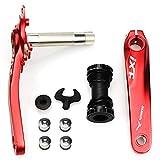 Fomtor-Fahrradkurbel-Set 104BCD für Straßenräder und Mountainbikes, mit Tretlager und Kettenblatt-Schrauben, 170mm Kurbel-Arm (rot).
