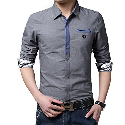 Homme chemise de loisirs Manches longues Ajustée Chic Couleur Unie Gris