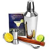 bardrinkstuff Cocktail-Shaker, Coktail-Set für Anfänger mit Rezeptbuch für 150 Drinks, Manhattan Cocktail-Shaker mit integriertem Sieb, Barmaß, Holzstößel und gedrehtem Mixlöffel
