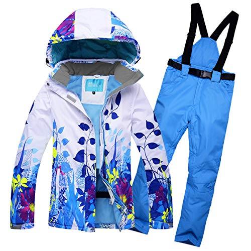 BEMEI Hosenträger Skihose für Damen + Skianzug Skijacke Winddicht,wasserdicht, atmungsaktiv, Wasserabweisende Damenhose, Verstellbarer Bund, abnehmbare Träger, Taschen.