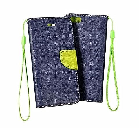 Moozy zweifarbige Fancy Tagebuch Buch Beutel Flip Handy Tasche mit Stand / Handschlaufe / Silikon Handyhalter für Apple iPhone 5 5S Blau /