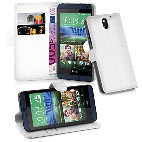 Preisvergleich Produktbild Cadorabo Hülle für HTC Desire 610 - Hülle in ARKTIS WEIß – Handyhülle mit Kartenfach und Standfunktion - Case Cover Schutzhülle Etui Tasche Book Klapp Style