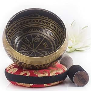 Silent Mind ~ Set Campana Tibetana design Antico ~ Ottimo per meditazione consapevole, rilassamento, sollievo da stress e ansia, guarigione chakra, Yoga, Zen ~ Il dono perfetto