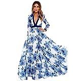 Cooljun Damen Sommerkleider Frauen Boho Maxikleid V-Ausschnitt Minikleid Großen Größen Abendkleid Lange Ärmel Partykleid A Line Vintage Cocktailkleid Blau Langes Kleid (XXL, Blau)