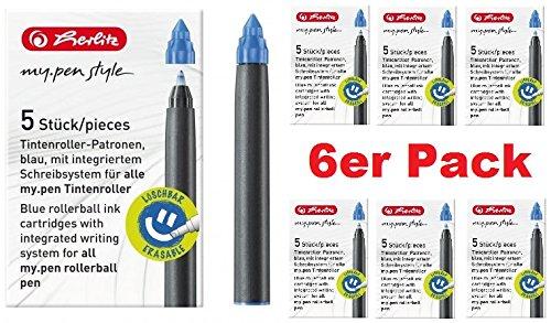 Tintenpatrone für Füllhalter, Tintenroller my.pen, blau, 2 x 5er-Pack