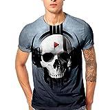 GreatestPAK T-Shirt mit Totenkopf-Print Herren Männer Rundhals Top,Grau,M