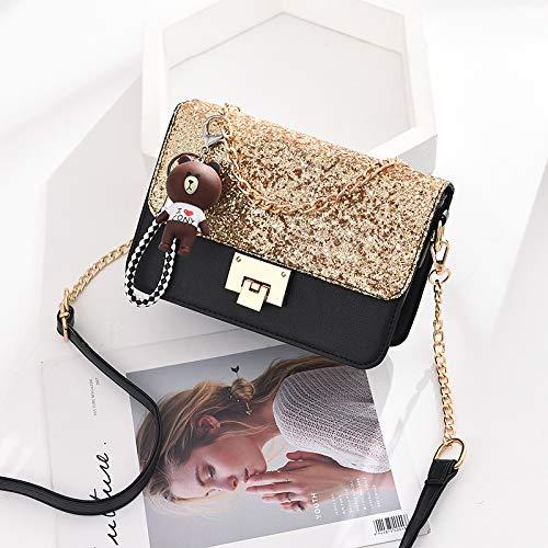 Gezeiten Marke koreanische Mode Persönlichkeit Pailletten kleine quadratische Tasche Gold -