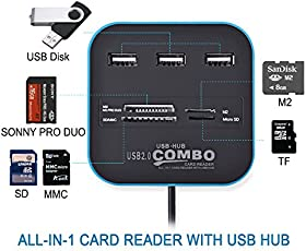 RK's New Arrival USB Hub 2.0 480Mbps USB Combo Card Reader All in One Multi USB Splitter for MS,M2,SD/MMC,TF Portable for PC Laptop Smart Tv Game and ETS