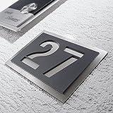 Metzler-Trade Hausnummer aus hochwertigem V2A-Edelstahl und Acrylglas - in Anthrazit! Grau RAL 7016 - Rostfrei und witte